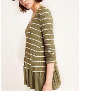 Anthropologie Tallie Peplum green stripe top XS